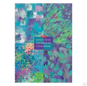 Блокнот БОЛЬШОЙ ФОРМАТ (205×290 мм) А4, 120 л., твердый переплет, клетка, блок 5 цветов, HATBER, Mosaic (111103)
