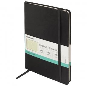 Блокнот А5 (148×218 мм), BRAUBERG Metropolis Special, под кожу, резинка, 80 л., черный (111577)