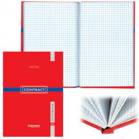 Блокнот BRAUBERG  A5, 135×206 мм, 96 л., твердая ламин. обложка, клетка, контракт красный