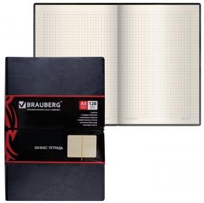 Блокнот А5, 148×218 мм, BRAUBERG Black Jack, 128 л., гладкий кожзам, резинка, клетка, черный (125240)