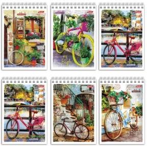 Блокнот «Лето на велосипеде», А6, 80 л., гребень, обложка мел. картон, HATBER, 105×140 мм (127553)