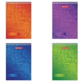 Блокнот МАЛЫЙ ФОРМАТ (97×145 мм) А6, 60 л., гребень, картон, клетка, BRAUBERG, Город (129828)