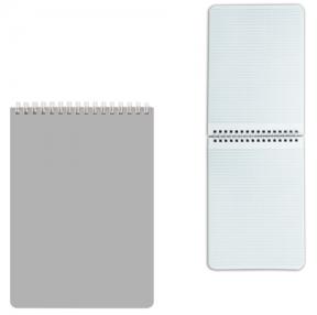 Блокнот А5 (145×212 мм), 60 л., гребень, лакированная обложка, клетка, HATBER, Серебро (127199)