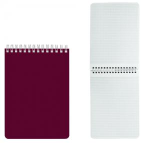 Блокнот А5 (145×212 мм), 60 л., гребень, лакированная обложка, клетка, HATBER, Бордо (127196)