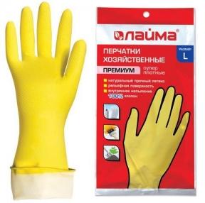 Перчатки хозяйственные латексные ЛАЙМА Премиум, Многоразовые, хлопчатобумажное напыление, суперплотные, L (большой) (600272)