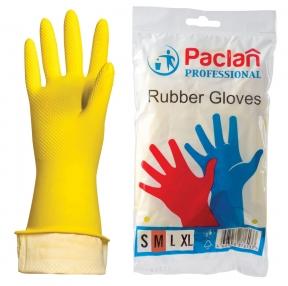 Перчатки хозяйственные латексные, х/б напыление, размер M (средний), желтые, PACLAN «Professional» (602489)
