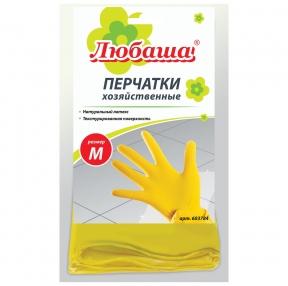 Перчатки хозяйственные латексные ЛЮБАША Эконом, Многоразовые, хлопчатобумажное напыление, размер M, (603784)
