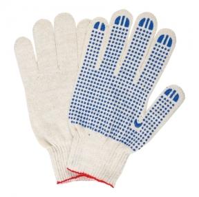 Перчатки хлопчатобумажные, Комплект 5 пар, 10 класс, 40-42 г, 116 текс, ПВХ-точка, ЛАЙМА ЛЮКС, Белые (604469)