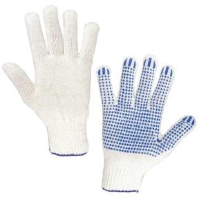 Перчатки хлопчатобумажные, комплект 5 ПАР, 7 класс, 65-67 г, 216 текс, ПВХ точка, ЛАЙМА Профи XL, Белые (604472)