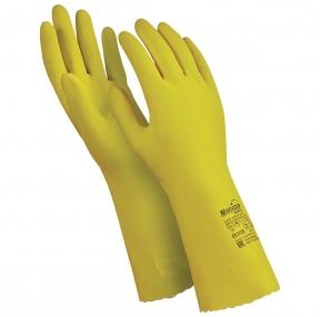 Перчатки латексные MANIPULA Блеск, хлопчатобумажное напыление, размер 9-9,5 L, желтые (605820)