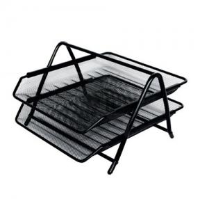 Лоток горизонтальный металлический, 2 секции, BRAUBERG Germanium, А4 (355×205×295 мм), черный (231950)