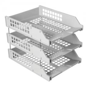 Лотки горизонтальные для бумаг СТАММ, набор 3 шт., «Strong», на металлических стержнях 6 см, серые