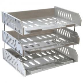 Лотки горизонтальные для бумаг СТАММ, набор 3 шт., «Сити», на металлических стержнях 6 см, серые