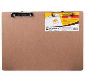Доска-планшет БОЛЬШОГО ФОРМАТА (440×320 мм), А3, BRAUBERG Eco с двумя прижимами, МДФ, 3 мм (232227)