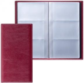 Визитница трехрядная BRAUBERG «Imperial», под глад.кожу, на 144 визитки, бордовая