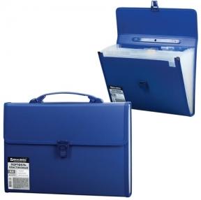 Портфель пластиковый BRAUBERG, А4, 332×245×35 мм, 13 отделений, текстура, пласт. индекс,синий