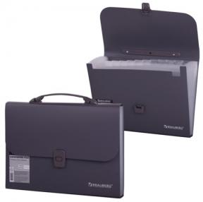 Портфель пластиковый BRAUBERG «Comfort», А4, 327×254×30 мм, 13 отделений, пласт. индекс,серый
