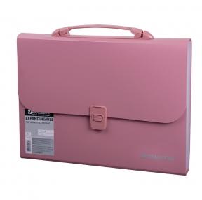 Портфель пластиковый BRAUBERG А4, 327×254×30 мм, 13 отделений, индексные ярлыки, розовый (221441)