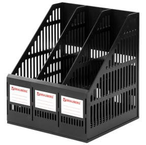 Лоток вертикальный для бумаг BRAUBERG, SMART-MAXI (254х255х297 мм), 3 отделения, сетчатый, сборный, черный (231525)