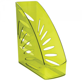 Лоток вертикальный для бумаг СТАММ «Тропик», ширина 110 мм, тонированный зеленый лайм
