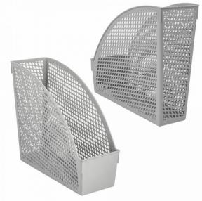 Лоток вертикальный для бумаг STAFF Profit, 270×100×250 мм, сетчатый, полипропилен, серый (237252)