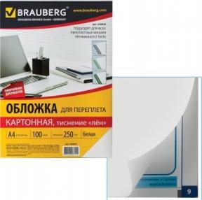 Обложки картонные для переплета, А4, комп. 100 шт.,  под лен, 250 г/м2, белые, BRAUBERG (530839)
