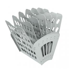 Лоток для бумаг СТАММ, 7-ми секционный, 6 отделений, серый, ЛТ40 (235691)