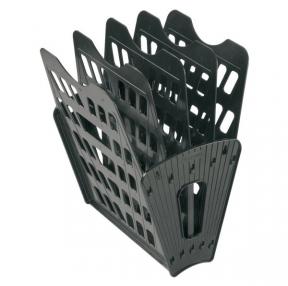 Лоток вертикально-горизонтальный СТАММ, пластиковый,на 4 отд., черный(ЛТ91)