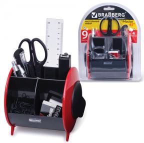 Канцелярский набор BRAUBERG 9 предм, вертикальная вращающаяся конструкция, чер/крас, блистер