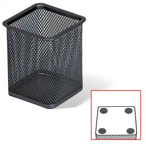 "Подставка-органайзер BRAUBERG ""Germanium"", металлическая, квадр. основан, 98х80х80мм, черная"