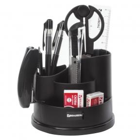 Канцелярский набор BRAUBERG Рапсодия, 10 предметов, вращающаяся конструкция, черный (236953)