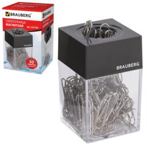 Скрепочница магнитная BRAUBERG с 30 скрепками, прозрачный корпус, черная крышка