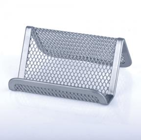 """Подставка для визиток настольная BRAUBERG """"Germanium"""", металлическая, 43*95*71мм, серебр"""