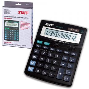 Калькулятор STAFF настольный STF-888-12, 12 разрядов, двойное питание, 200×150 мм