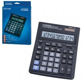 Калькулятор настольный CITIZEN SDC-554S (199×153 мм), 14 разрядов, двойное питание (250222)