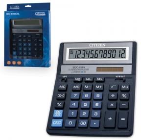 Калькулятор CITIZEN настольный SDC-888XBL, 12 разрядов, двойное питание, 205×159 мм