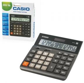Калькулятор CASIO настольный DH-16-BK-S, 16 разрядов, двойное питание, 159×151 мм,серый