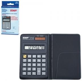 Калькулятор STAFF карманный STF-818, 8 разрядов, двойное питание, 102×62 мм