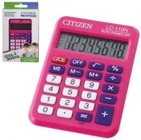 Калькулятор CITIZEN карманный LC-110NPKCFS, 8 разрядов, двойное питание, 87×58 мм, розовый