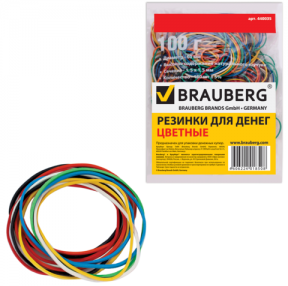 Резинки для денег BRAUBERG (натур. каучук!) цветные, 100 г, 180шт