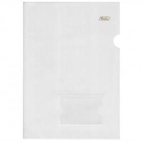 Папка-уголок с карманом для визитки, А4, прозрачная, 0,18 мм, AGкм4 00100 (227402)