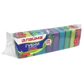 Губки бытовые для мытья посуды, комплект 10 шт., поролон/абразив,  26 х 80 х 53 мм, Лайма (601551)