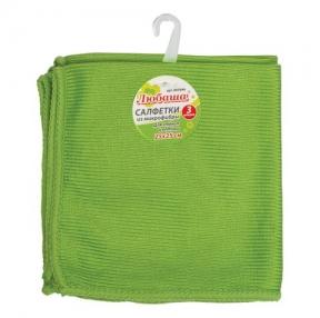 Салфетки для стекла и оптики, Комплект 3 шт., микрофибра, 25×25 см, зеленые, ЛЮБАША Эконом (603946)