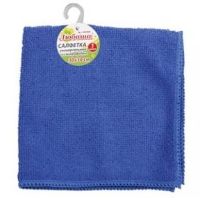 Салфетка универсальная, микрофибра, 30×30 см, синяя, ЛЮБАША Эконом (603949)