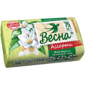 Мыло туалетное, Весна, Жасмин и зеленый чай, бумажная обертка, 90г (260872)