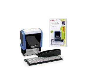 Штамп самонаборный 3-строчный, размер оттиска 38×14 мм, синий без рамки, TRODAT 4911P4/DB, Кассы в комплекте (230960)
