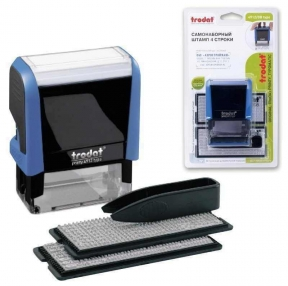 Штамп самонаборный 4-строчный, размер оттиска 47×18 мм, синий без рамки, TRODAT 4912P4/DB, Кассы в комплекте (230962)
