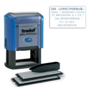 Штамп самонаборный 6-строчный, оттиск 50×30 мм, синий, без рамки, TRODAT 4929/DB, кассы в комплекте