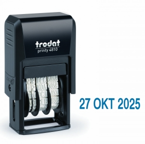 Датер мини месяц TRODAT 4810, буквами, оттиск 20*4мм, синий, корпус черный (230546)