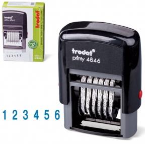 Нумератор 6-разрядный, оттиск 25×4 мм, синий, TRODAT 4846, корпус черный (230549)